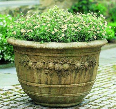Cast Stone Round Pomegranate Planter