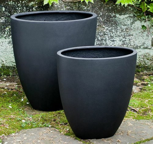 Fiberglass Tall Oval Lite Planter Set of Two