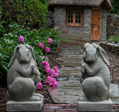 Cast Stone Newport Rabbits Set of Two