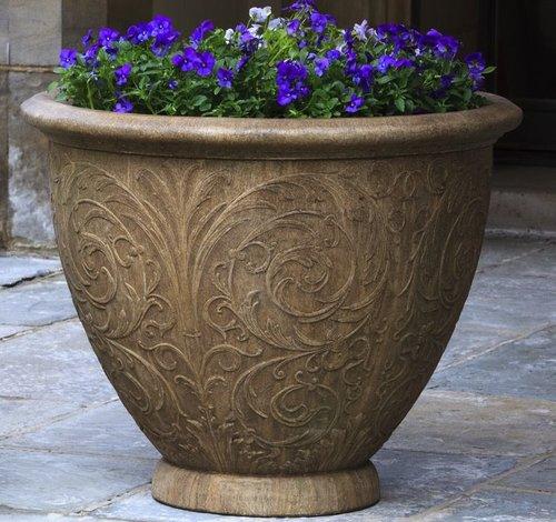 Cast Stone Arabesque Round Planter