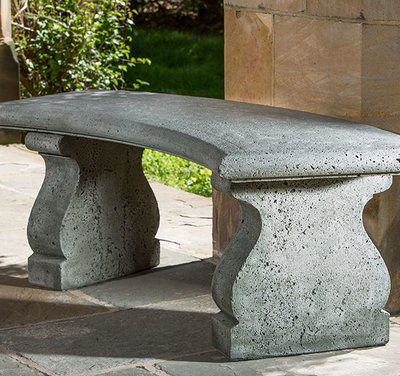 Cast Stone Provencal Curved Bench