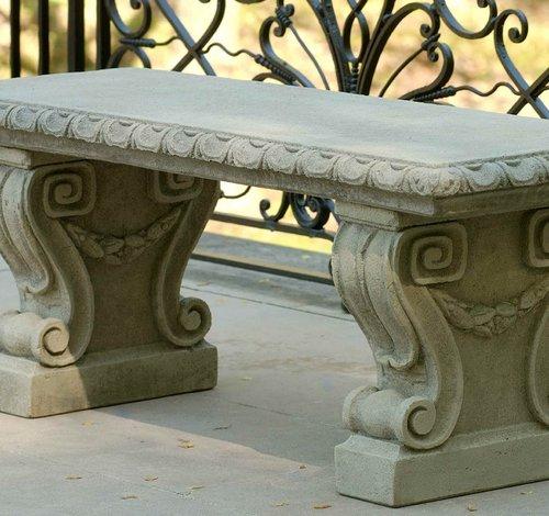 Cast Stone Longwood Main Fountain Garden Bench