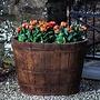 Cast Stone Oval Wine Barrel Planter