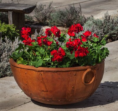 Cast Stone Rustic Kettle Planter