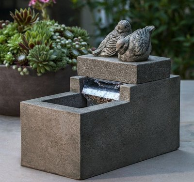Cast Stone Mini Element Bird Fountain