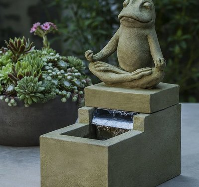 Cast Stone Mini Element Zen Frog Fountain