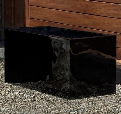 Fiberglass Glossy Black Sandal Planter Set