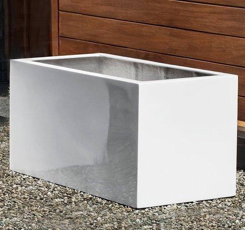 Fiberglass Glossy White Sandal Planter Set