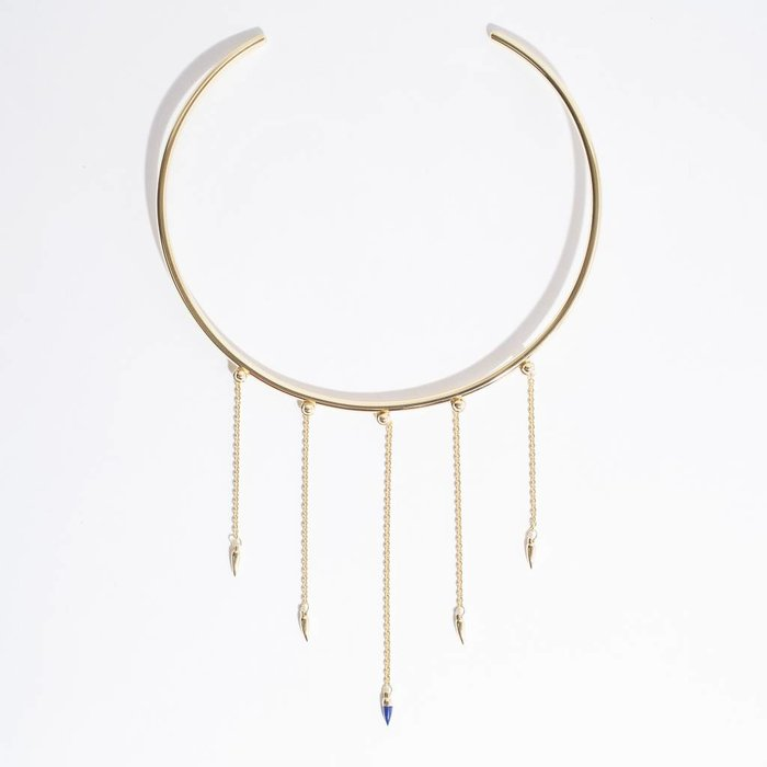 Pamela Love Tiered Pendulum Collar necklace -  14k gold over brass w/lapis