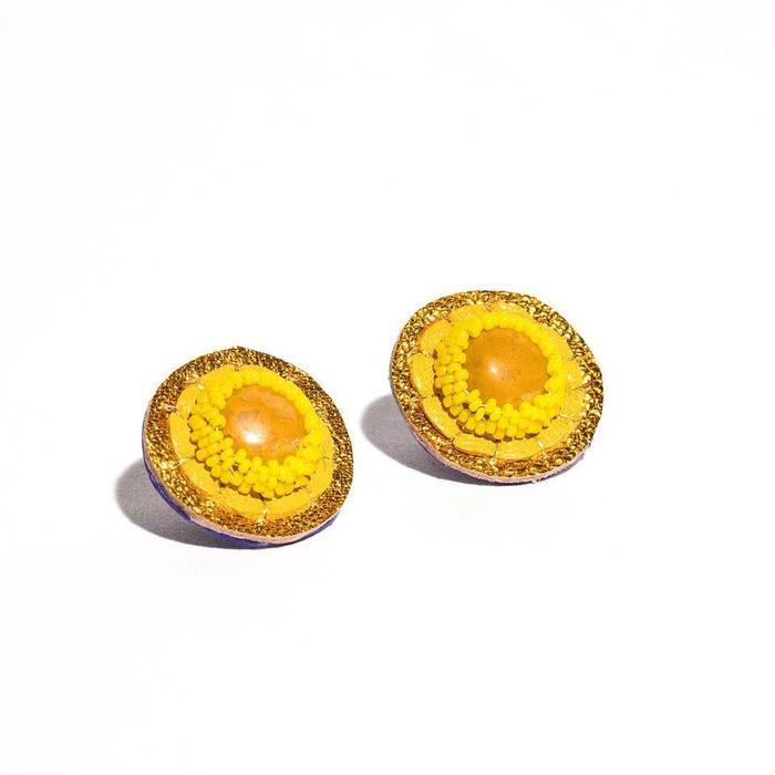 Yellow Jasper Stud Earrings