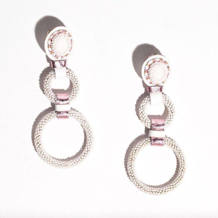 White Jade Double Hoop Earrings