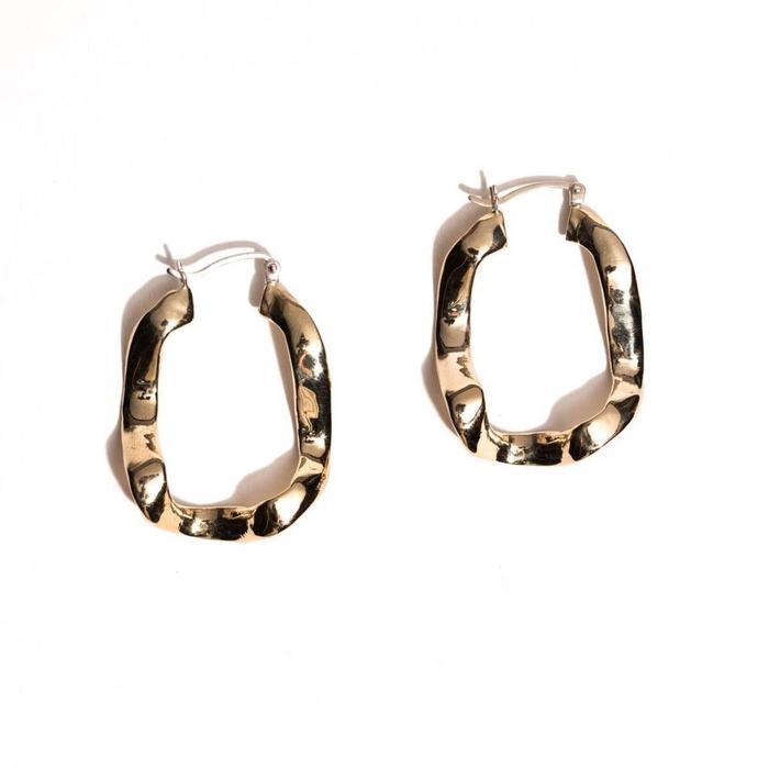 Open House Front Wave Earrings in Brass