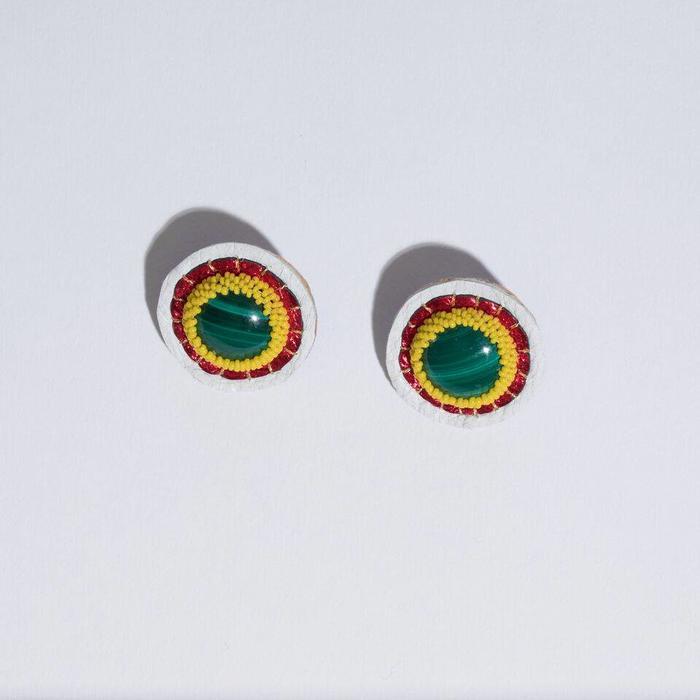 Robin Mollicone Button Earrings - Malachite