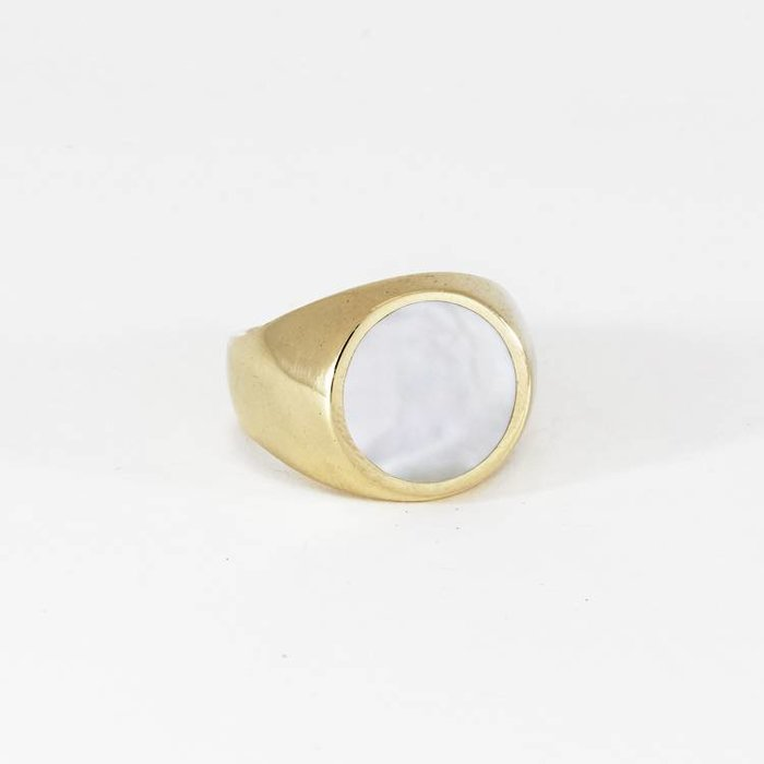 Legier Round Ring Brass with Mother of Pearl Sz. 8