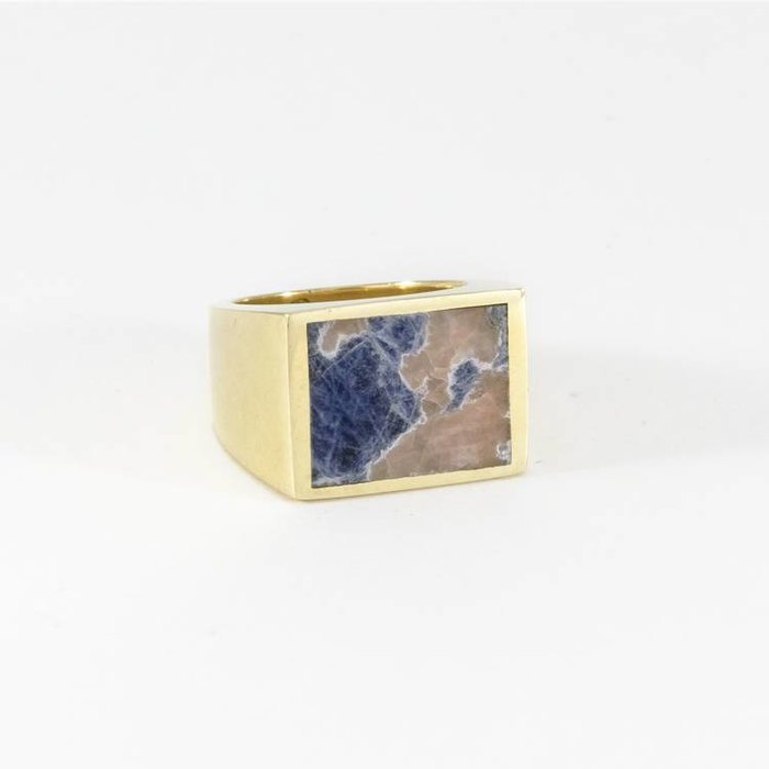 Legier Ring Brass with Blue Sodalite