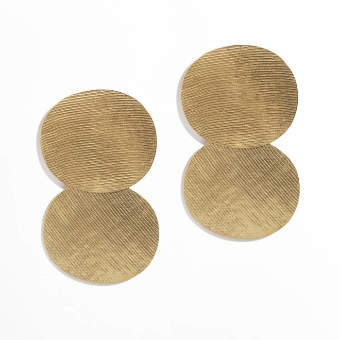 Annie Costello Brown Double Oval Earrings - Ribbed Gold