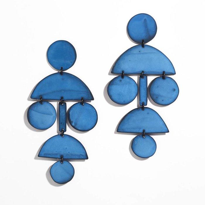 Annie Costello Brown Pom Pom Chandelier Earrings - Blue