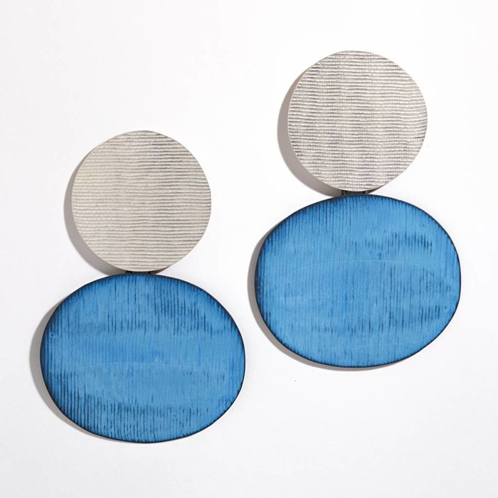 Annie Costello Brown Skye Earrings - Silver and Blue Oxide