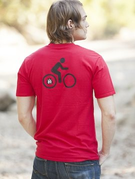 Men's Tshirt Men's Short Sleeve T-Shirt Shield on Front Bike on Back