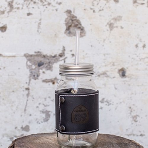 Glasses Mason Jar with Leather Wrap