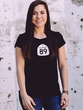 California 89 Women's Short Sleeve T-Shirt Shield on Front Paddleboard on Back