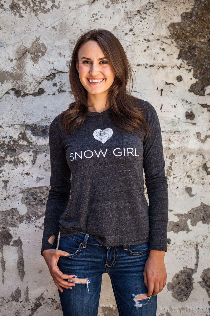Women's shirts Women's Long Sleve Snowgirl Hooded Shirt