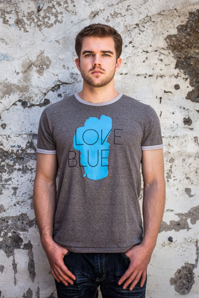 Men's Tshirt Love Blue Men's Ringer Tee