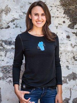 Women's T-Shirts Women's Long Sleeve Love Blue Bamboo Tee