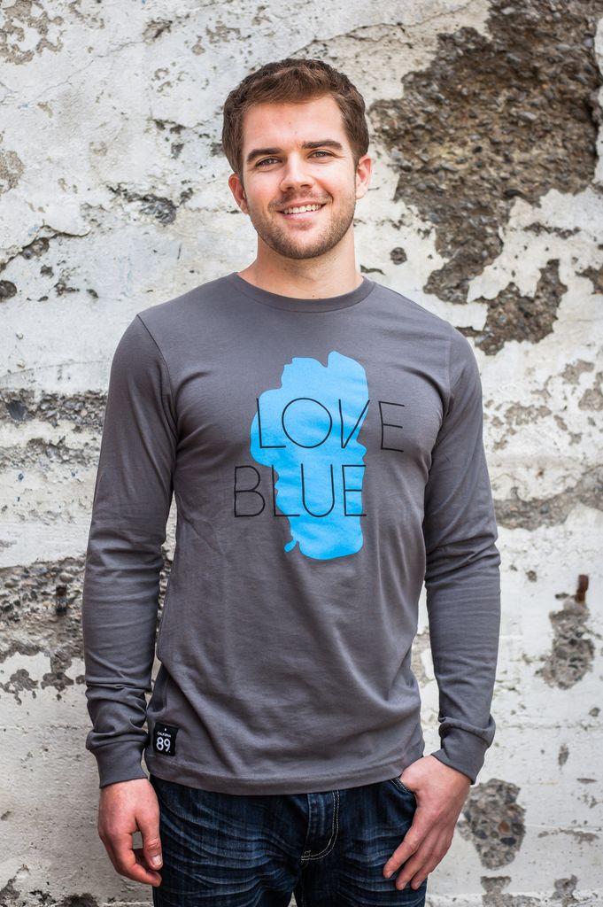 Men's Long Sleeve Tee Men's Blue Love Long Sleeve Tee
