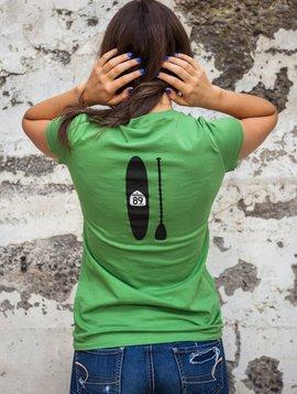 California 89 Women's short sleeve V-neck shield front, paddleboard back