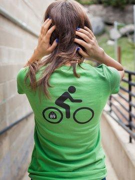 Women's T-Shirts Women's short sleeve v-neck, shield front, bike back