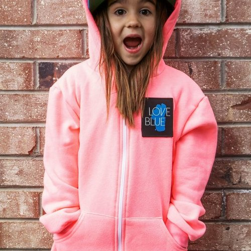 Kids Sweatshirts Kid's Love Blue Zip Hoodie