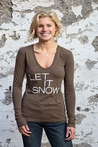 Women's shirts Women's Let it Snow Long Sleeve V-Neck