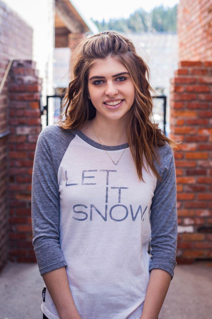 Women's baseball Women's baseball shirt, Let it Snow front