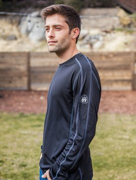 Men's Long Sleeve Tee Men's Sport Long Sleeve T, Shield left sleeve, CA*89 Bottom Right back