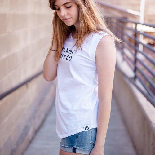 Women's shirts Cap Sleeve Breathe and Let Go Women's Tank