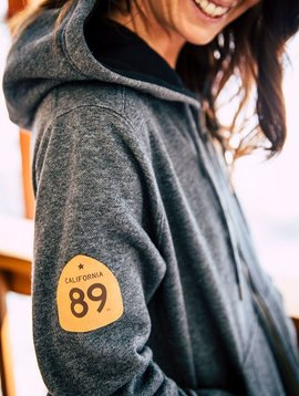 California 89 Women's Custom Zip Sweatshirt with Hood and CA89 Leather Patch on arm