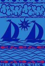 Sailboats Blue - Sheared Jacquard Beach Towel