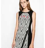 Desigual Oregon Dress, Black and White w/ Embroidered Flowers