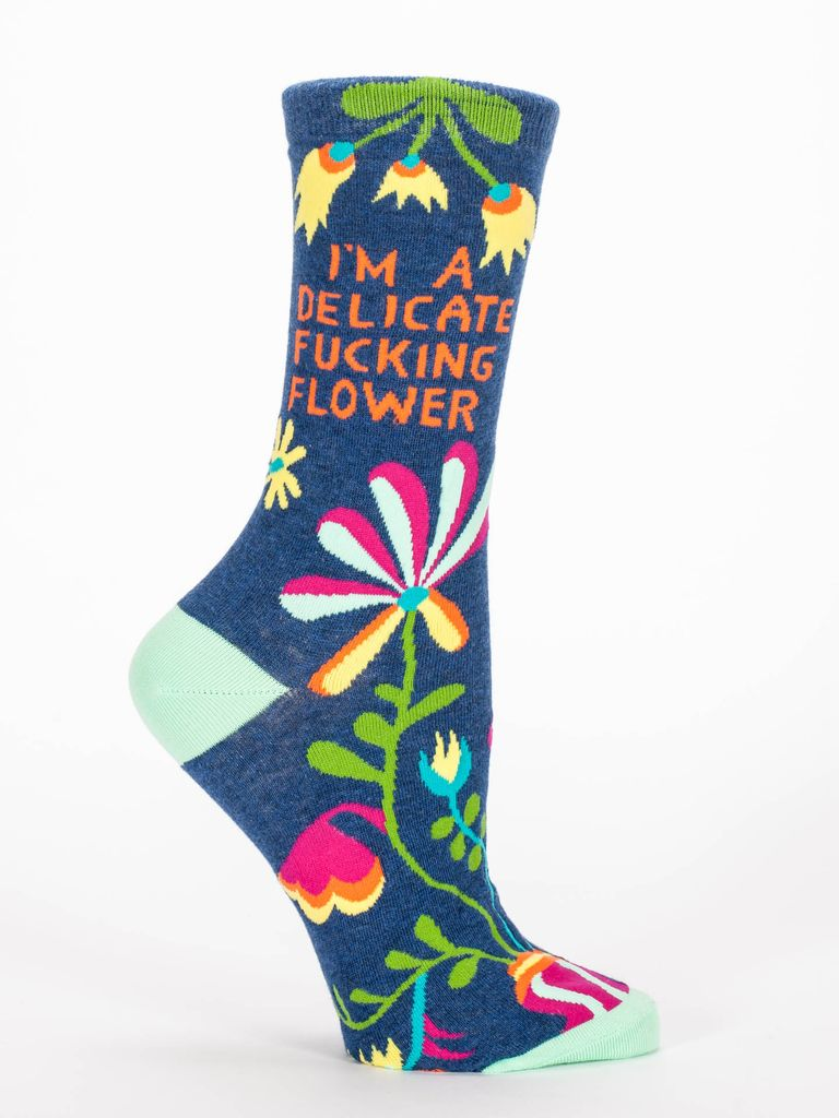 Blue Q Delicate Fucking Flower Crew Socks