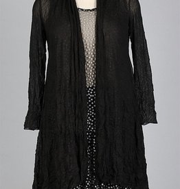 Comfy long open mesh cardigan