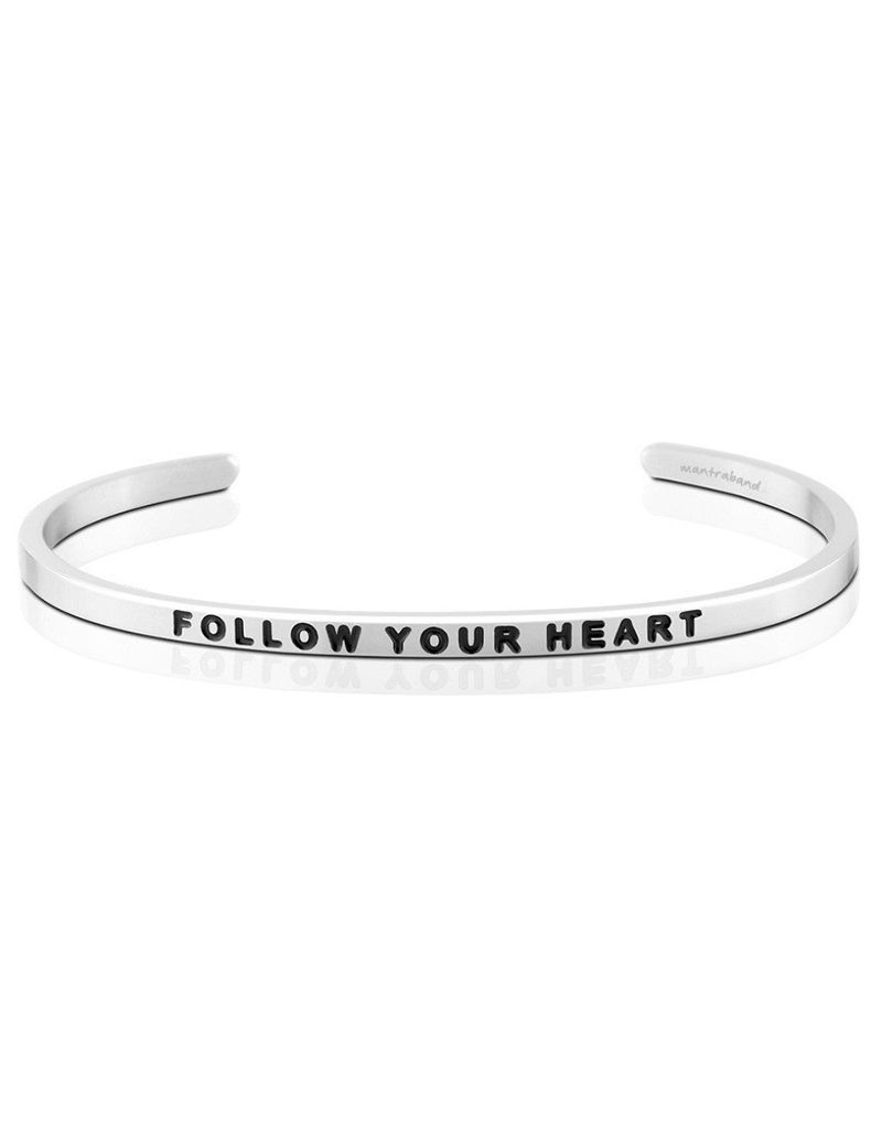 MantraBand Follow Your Heart Mantra Bracelet - Silver
