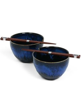 Miya Company Blue Glaze Bowl Set for Two w/ Chopsticks