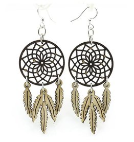 Green Tree Jewelry Dreamcatcher w/ Feather Earrings, Brown