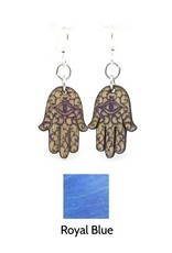 Green Tree Jewelry Hamsa Hand Earrings, Royal Blue