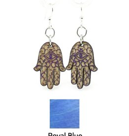 Green Tree Jewelry Hamsa Hand Earrings, Royal Blue