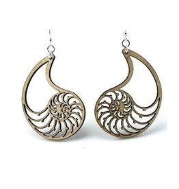 Green Tree Jewelry Nautilus Shell Earrings, Tan