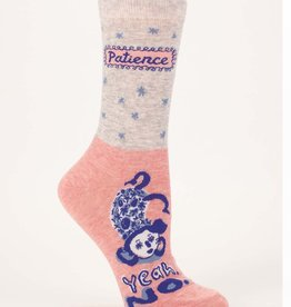 Blue Q Blue Q Patience. Yeah No. Women's Crew Socks