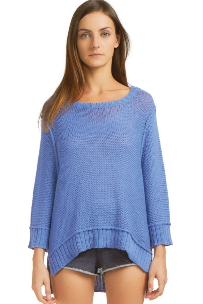Wooden Ships Easy Peasy 3/4 Sleeve Cotton Crewneck Sweater
