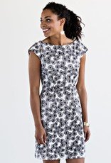 Mata Traders Mod Motion, Black and White Floral Print Dress